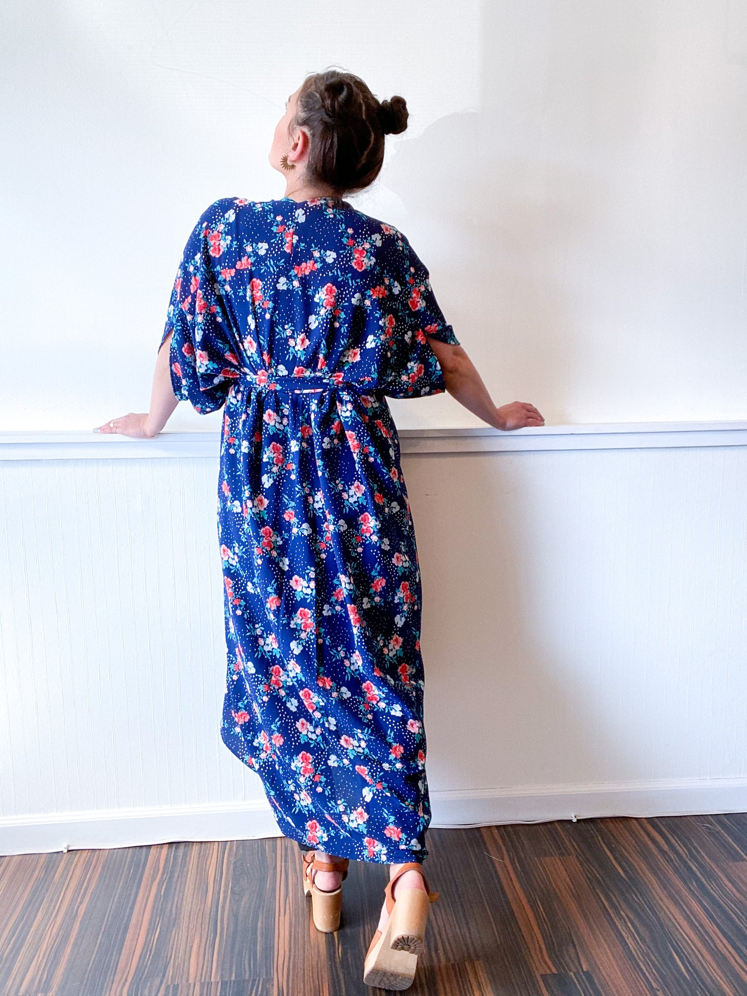 High Low Kimono Navy Coral Floral Bubble Crepe