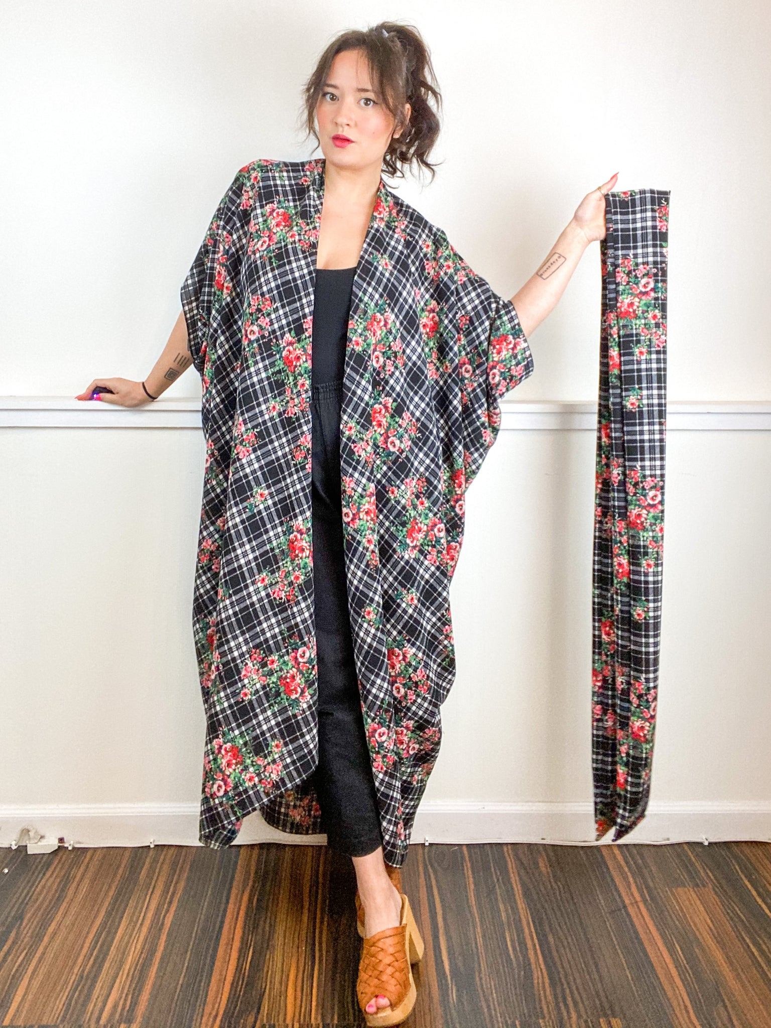 Print High Low Kimono Floral Plaid Bubble Crepe
