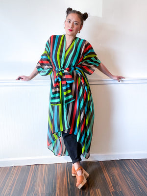 Print High Low Kimono Black Multicolor Stripes Chiffon