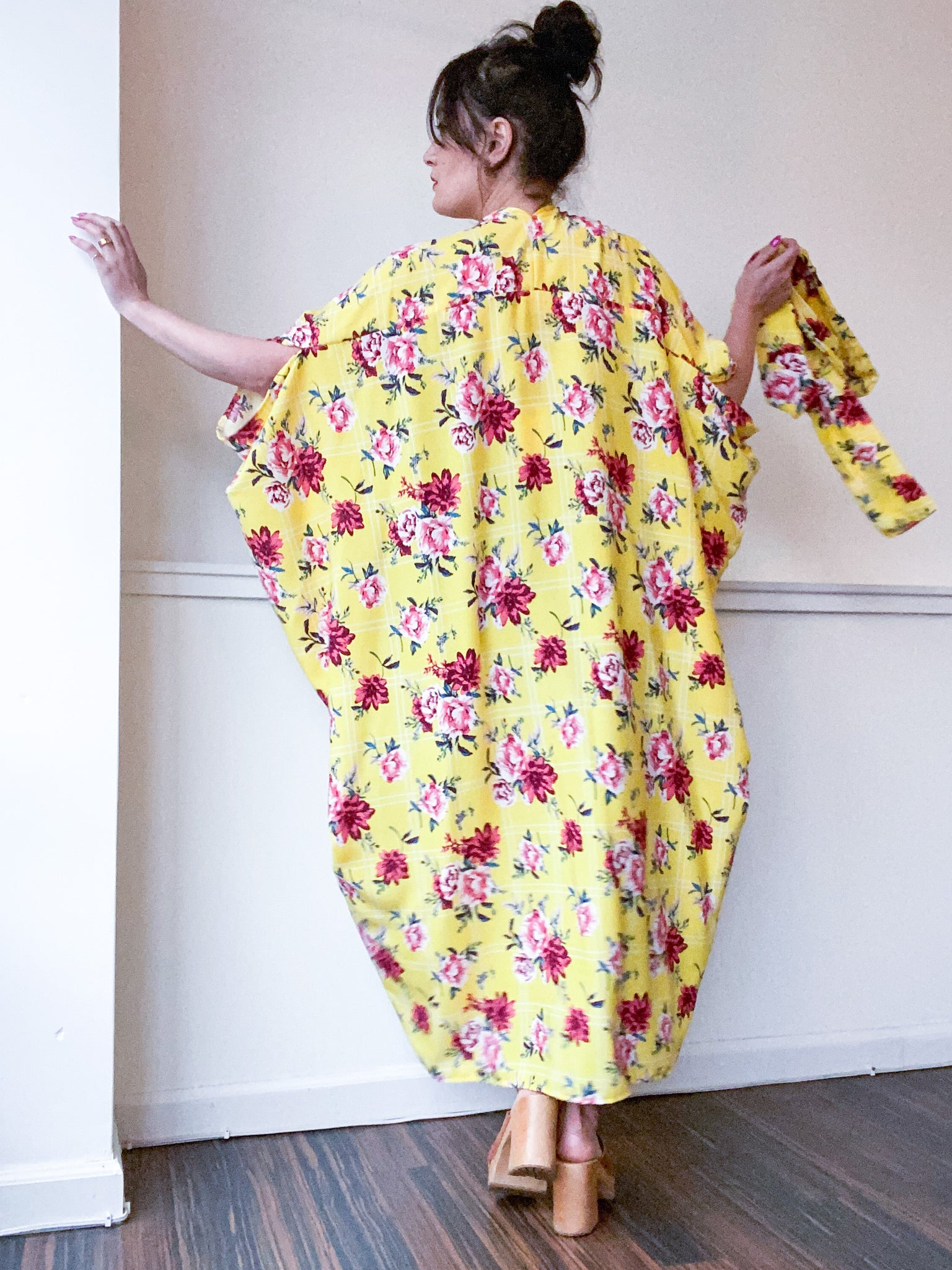 Print High Low Kimono Yellow Grid Floral Rayon Challis