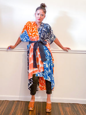 Limited Edition Hand-Dyed High Low Kimono Teal Cerulean Coral Orange