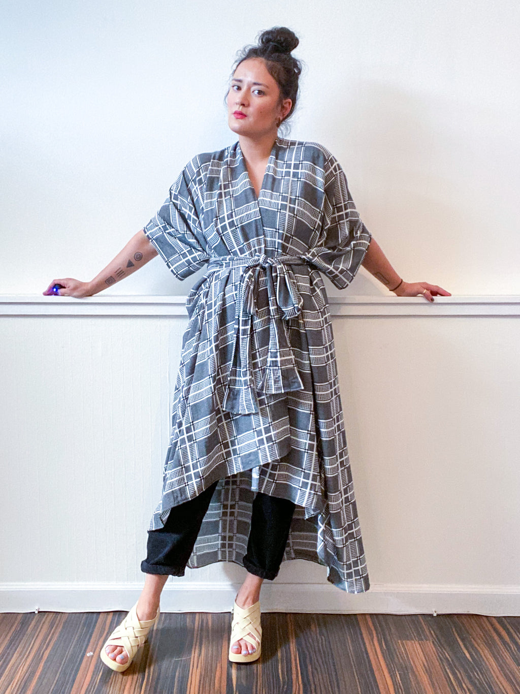 Print High Low Kimono Houndstooth Plaid Rayon
