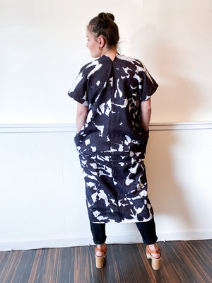 Hand-Dyed Linen Smock Dress Black Inkblot