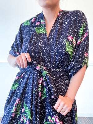 Print High Low Kimono Navy Dots and Floral Bubble Crepe