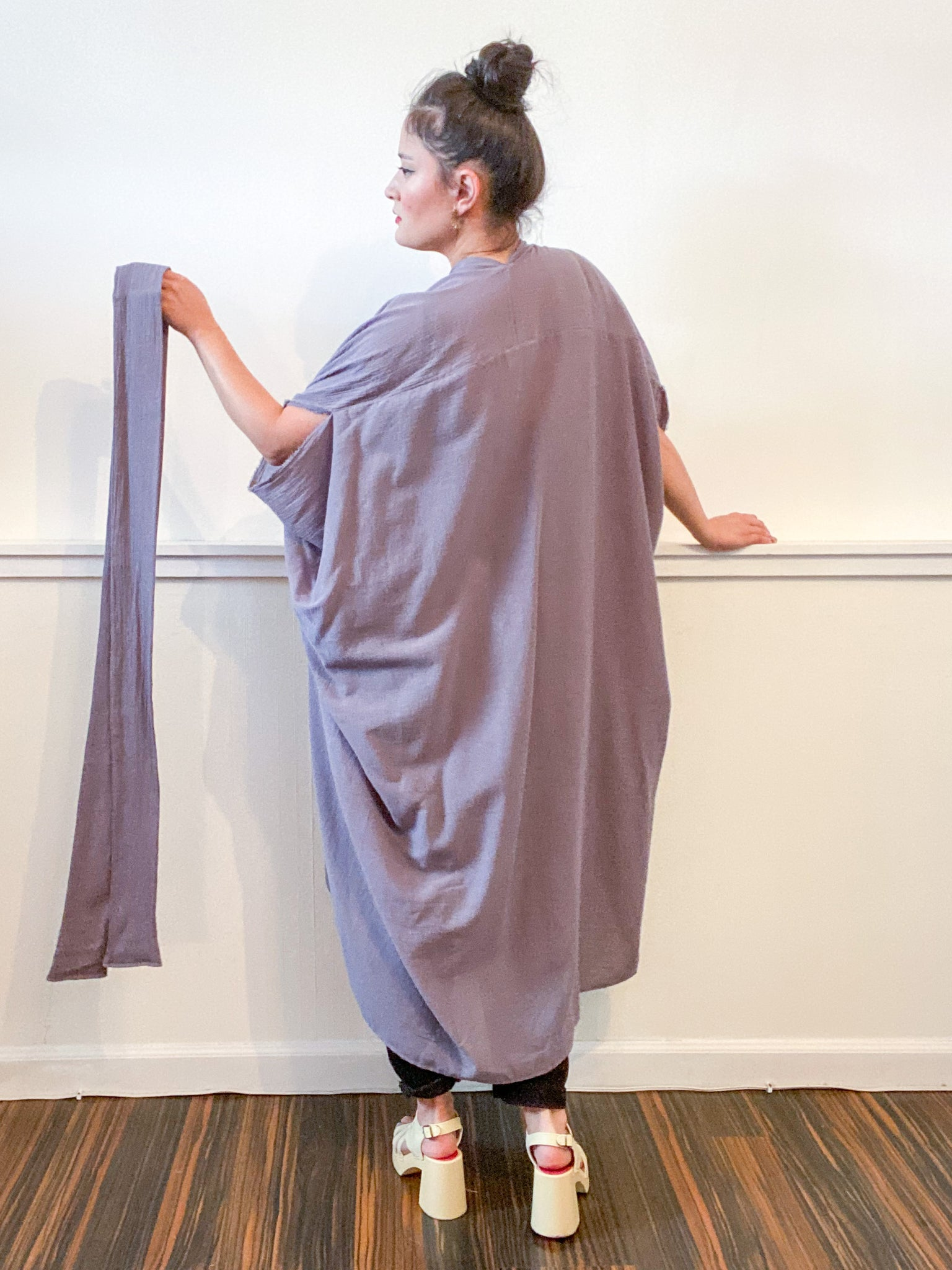 Solid High Low Kimono Grey Cotton Gauze