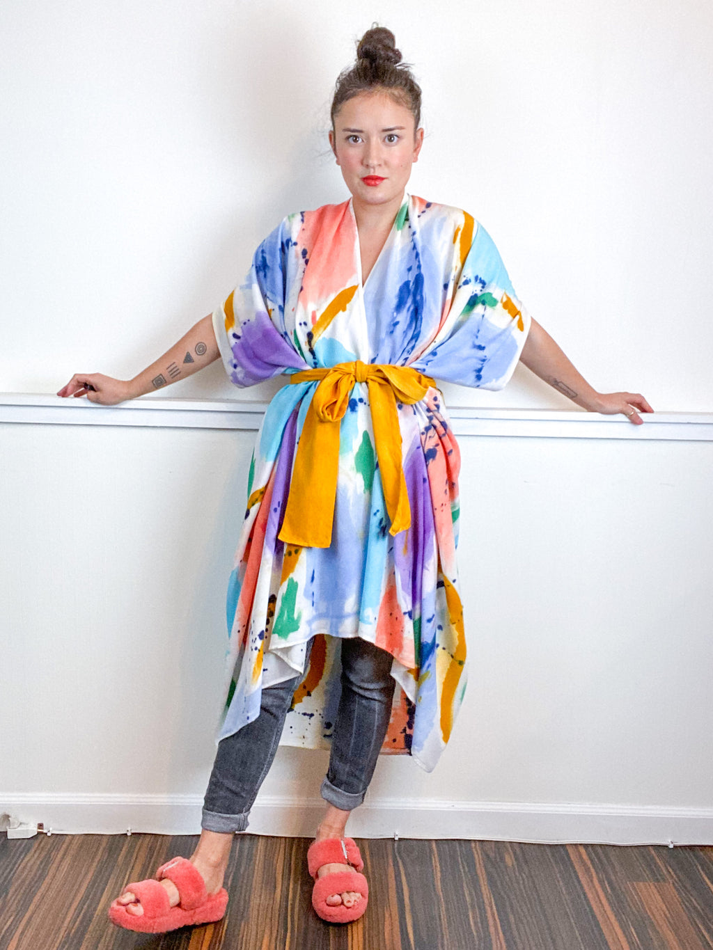OOAK Hand-Dyed High Low Kimono Seven Multicolor