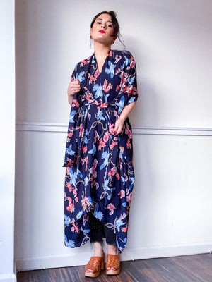 Print High Low Kimono Birds and Branches