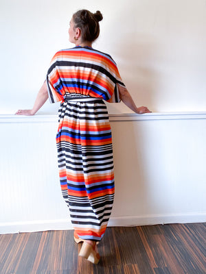 Print High Low Kimono Multicolor Stripe Bubble Crepe