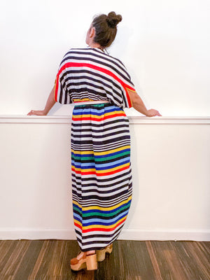 Print High Low Kimono Primary Stripe Bubble Crepe