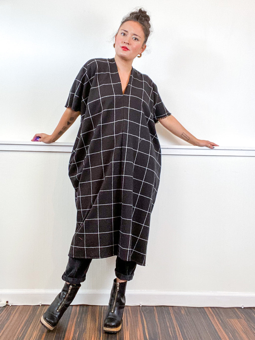 Plaid Smock Dress Black Windowpane