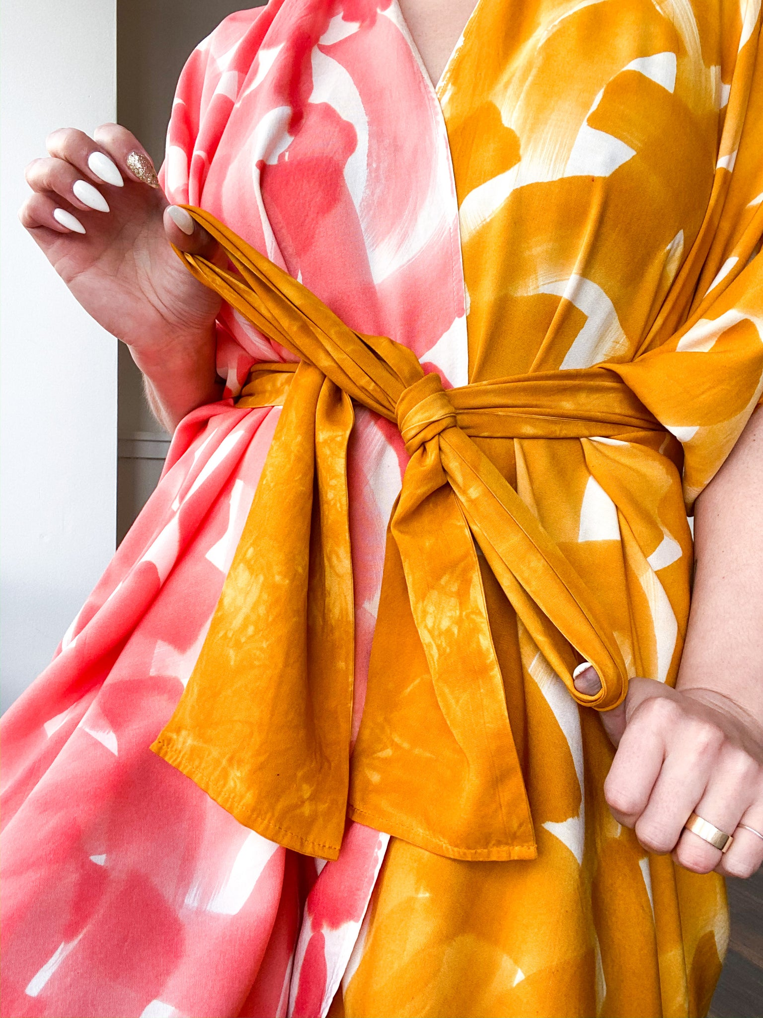 Limited Edition Hand-Dyed High Low Kimono Marigold Coral