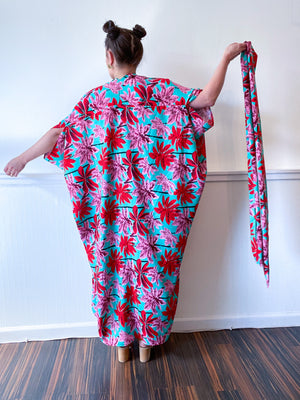 Print High Low Kimono Tropical Palms Rayon Challis