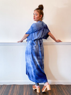 Hand-Dyed High Low Kimono Soft Blue Lines