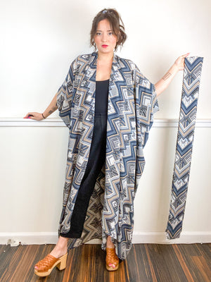 Print High Low Kimono Deco Bubble Crepe