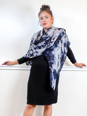 Hand-Dyed Large Square Scarf Grey Black Tie
