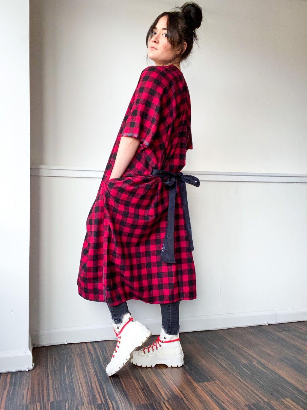 Everyday Midi Kimono Dress Plaid Red Check