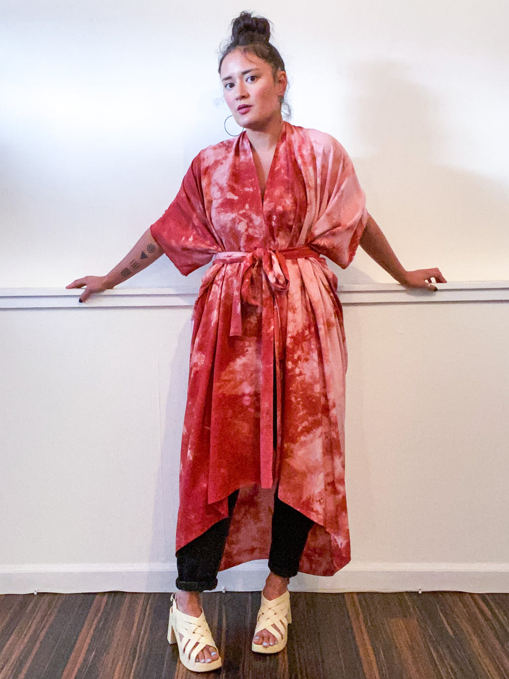 Hand-Dyed High Low Kimono Terracotta Tie