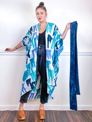 OOAK Hand-Dyed High Low Kimono Teal Parakeet Baby Blue Aqua Drips