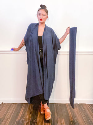 Solid High Low Kimono Heather Navy Knit
