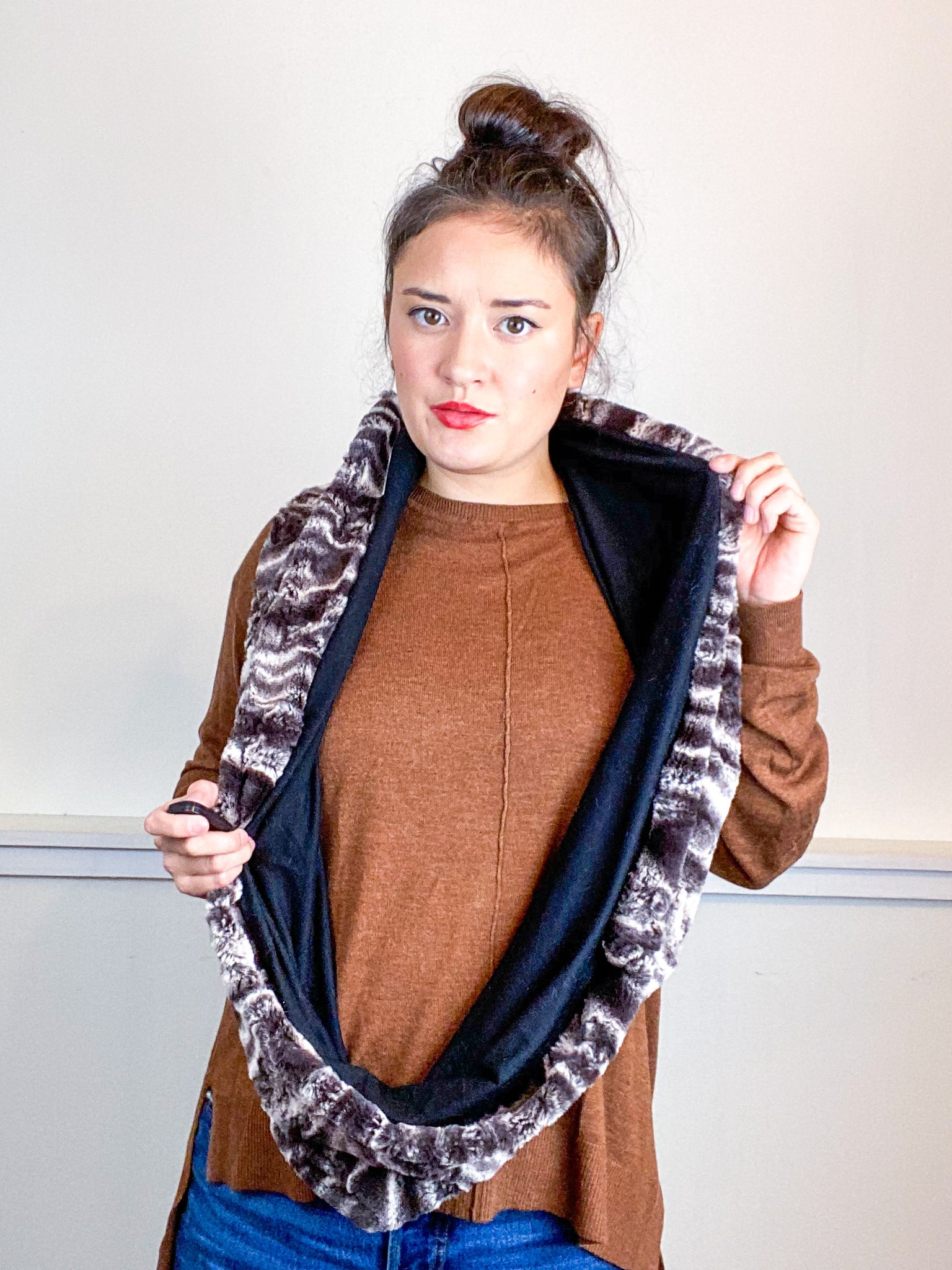 Faux Fur Circle Scarf Variegated Brown on Black