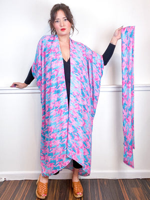 Print High Low Kimono Eighties Love Georgette