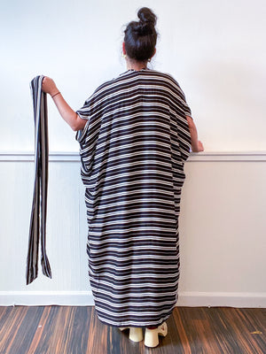 Print High Low Kimono Black White Stripes Rayon Challis