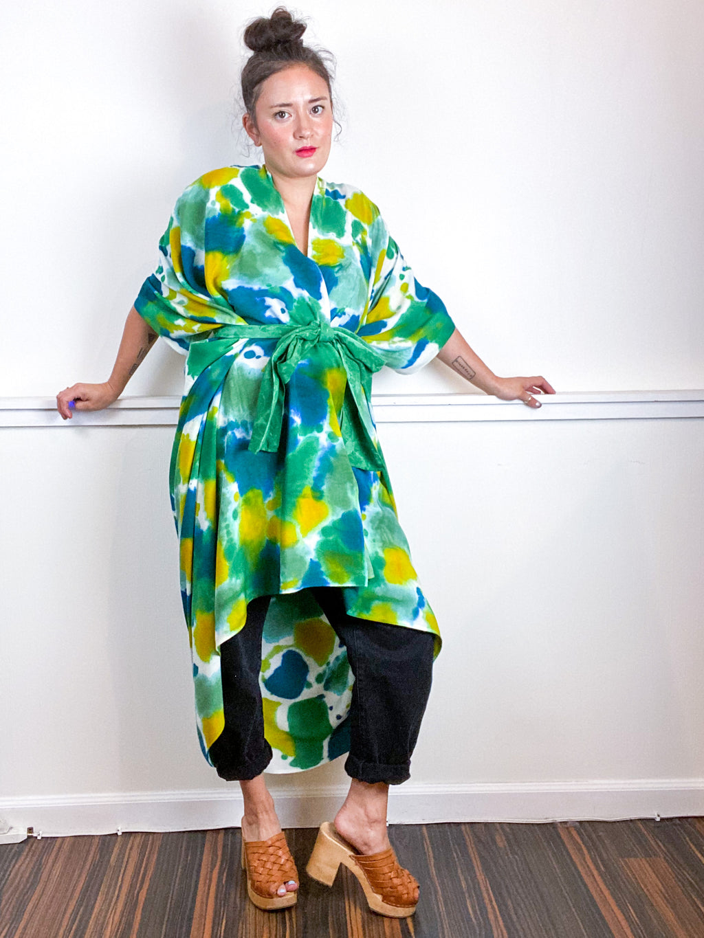 OOAK Hand-Dyed High Low Kimono Emerald Sea Chartreuse Kingfisher Inkblot