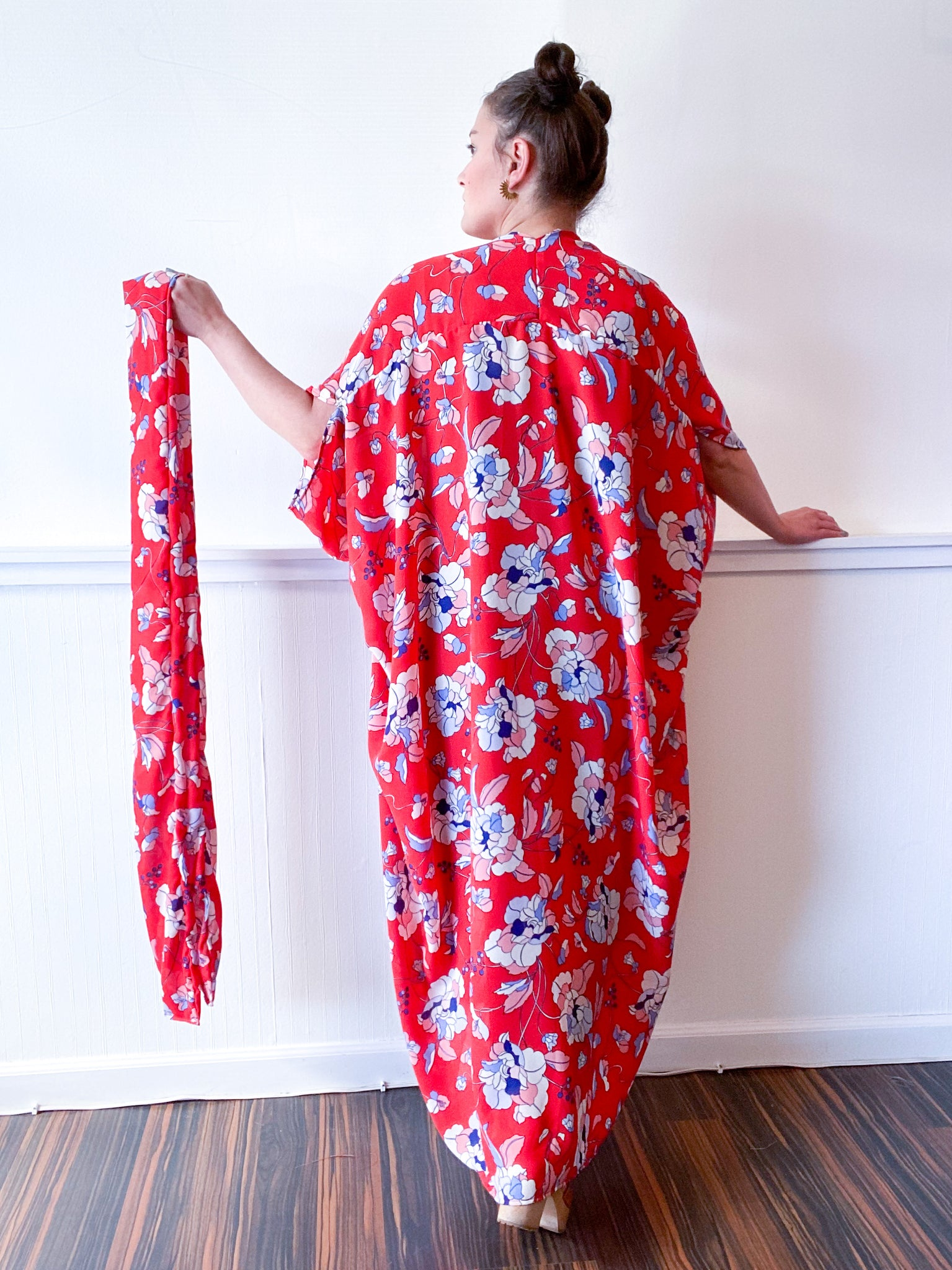 Print High Low Kimono Red Floral Georgette