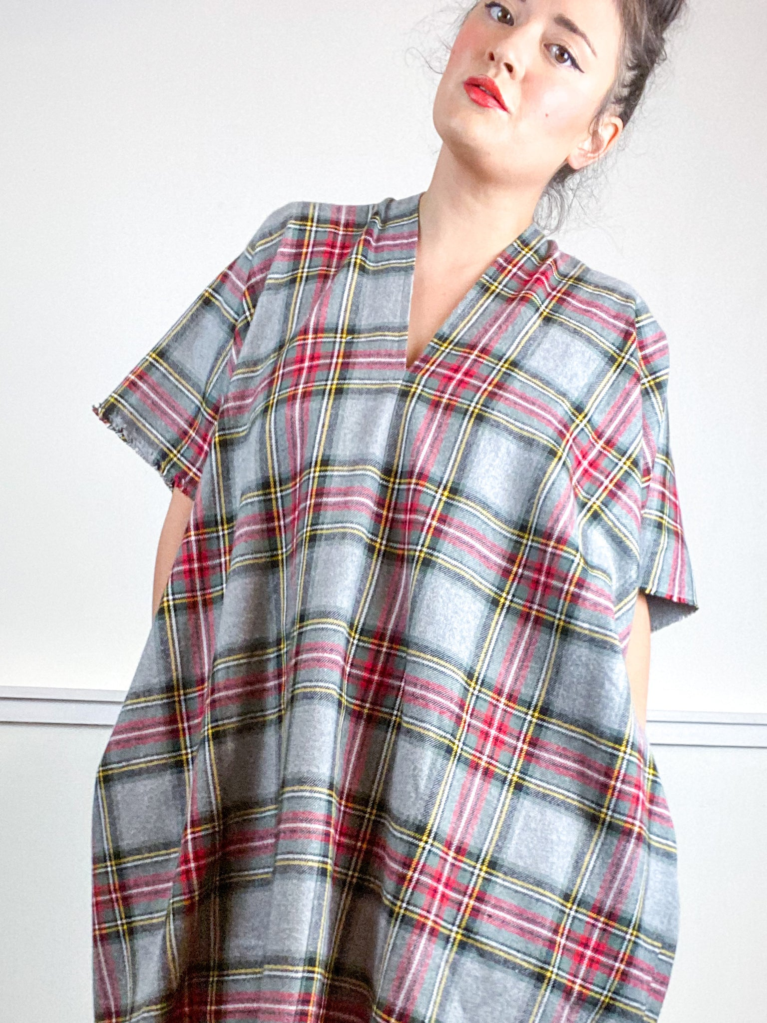 Plaid Smock Dress Grey Red Midi