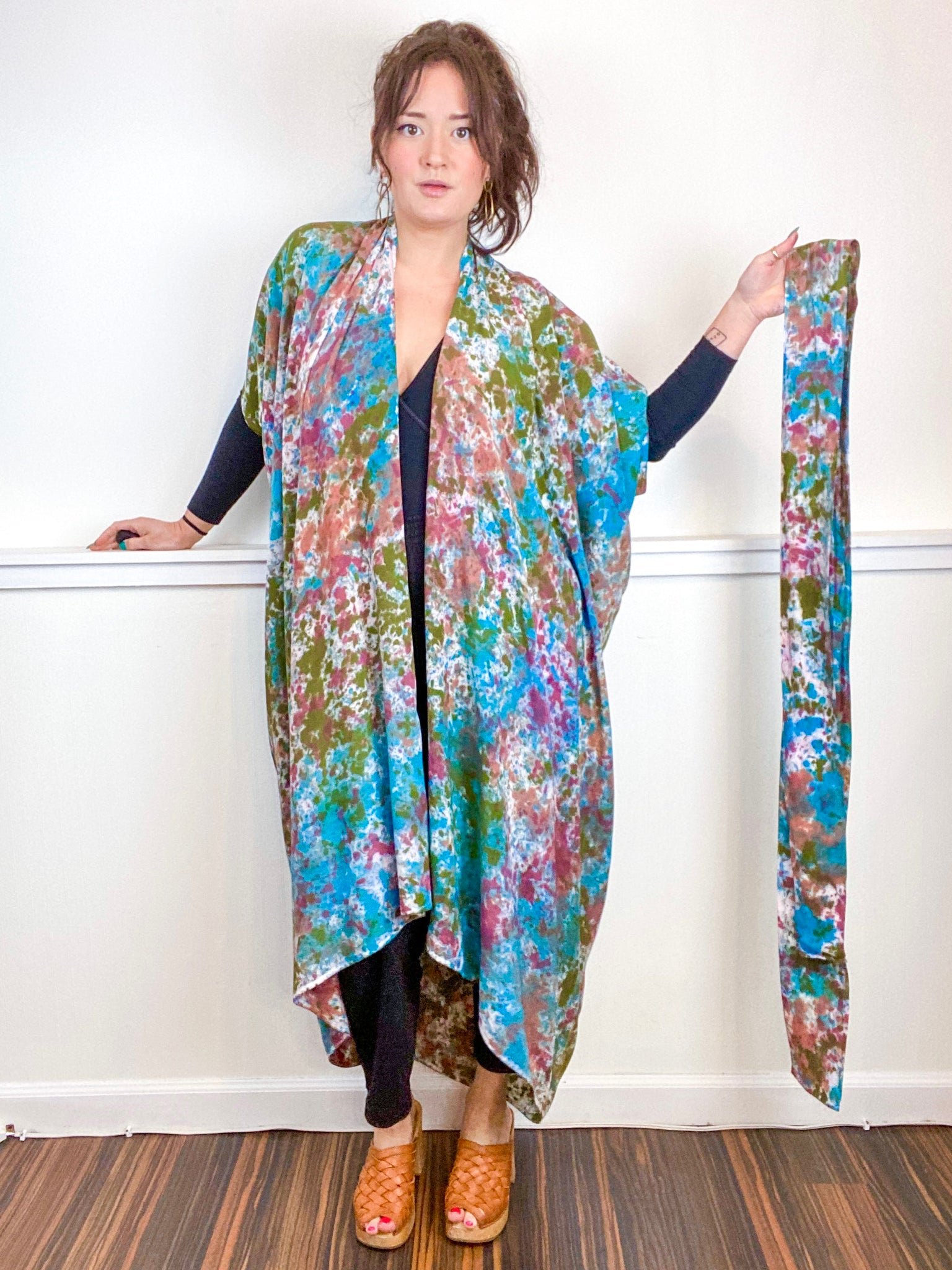 Hand-Dyed High Low Kimono Terracotta Moss Teal Maroon Speckle