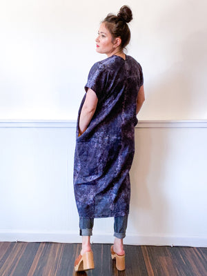 Hand-Dyed Linen Smock Dress Deconstructed Black