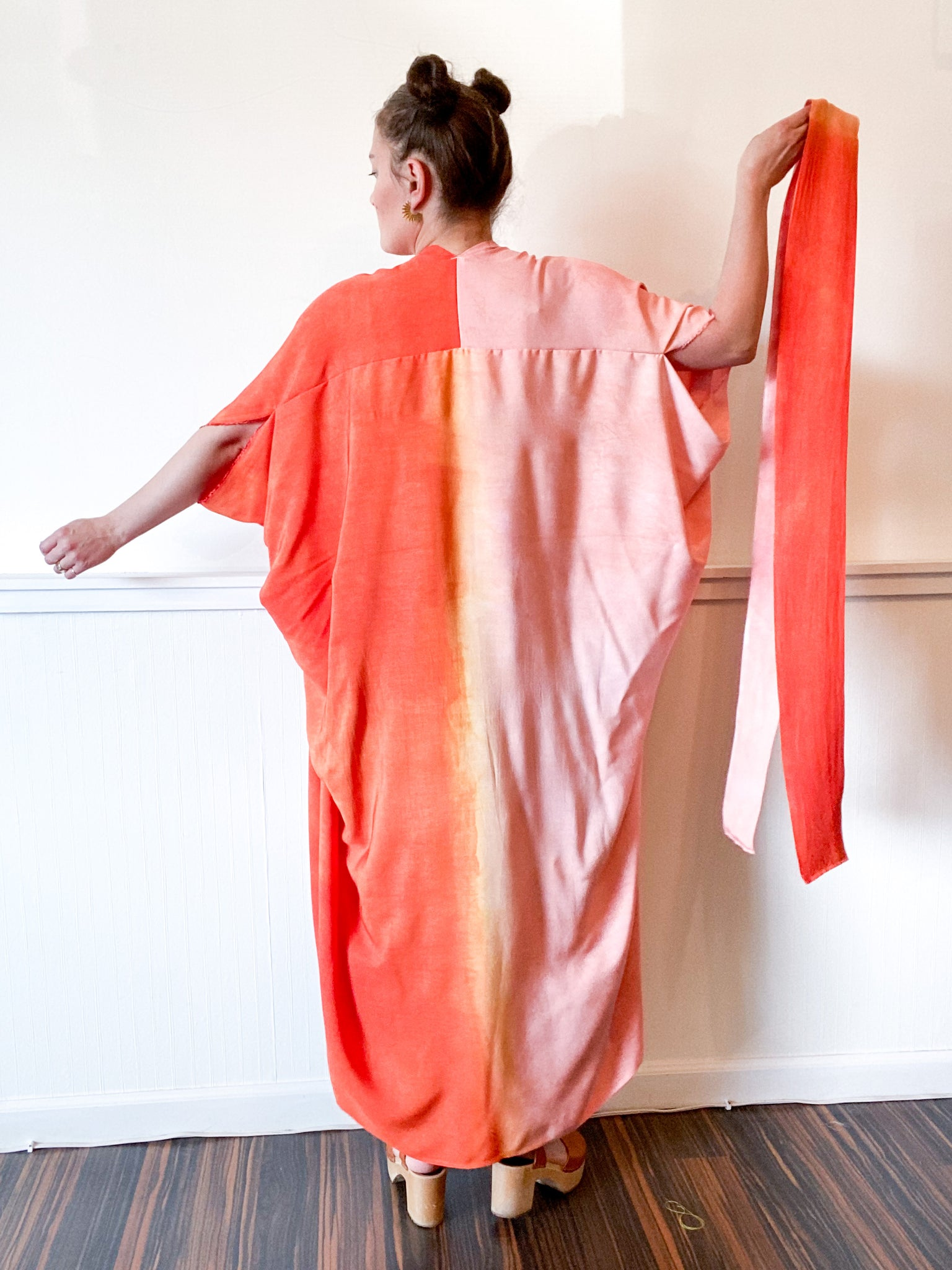 Hand-Dyed High Low Kimono Two Tone Powder Pink Tangerine