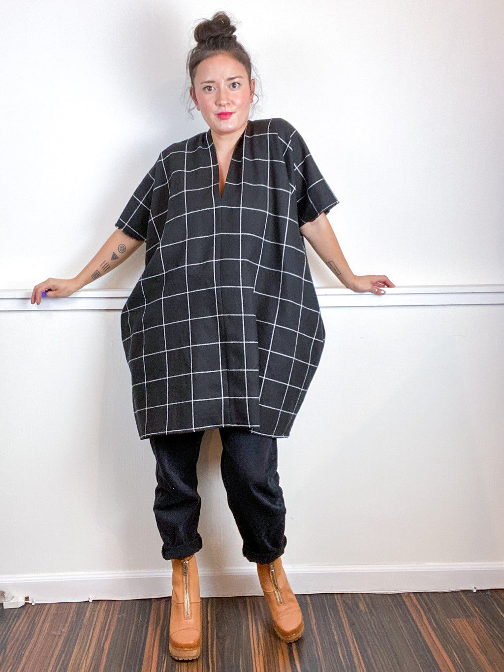 Plaid Smock Dress Mini Length Black Windowpane