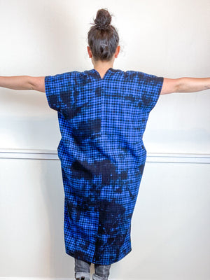 Over-Dye Plaid Smock Dress Black Blue Midi