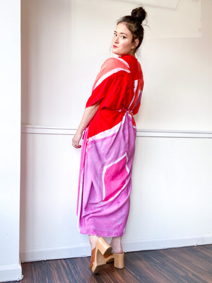 Limited Edition Hand-Dyed High Low Kimono Shape Study Pink Red