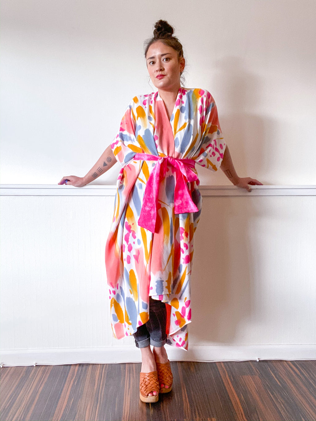 Limited Edition Hand-Dyed High Low Kimono Confetti 2