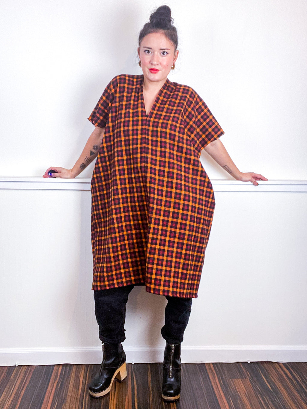 Plaid Smock Dress Orange Maroon Check
