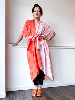 Limited Edition Hand-Dyed High Low Kimono Two Tone Powder Pink Tangerine