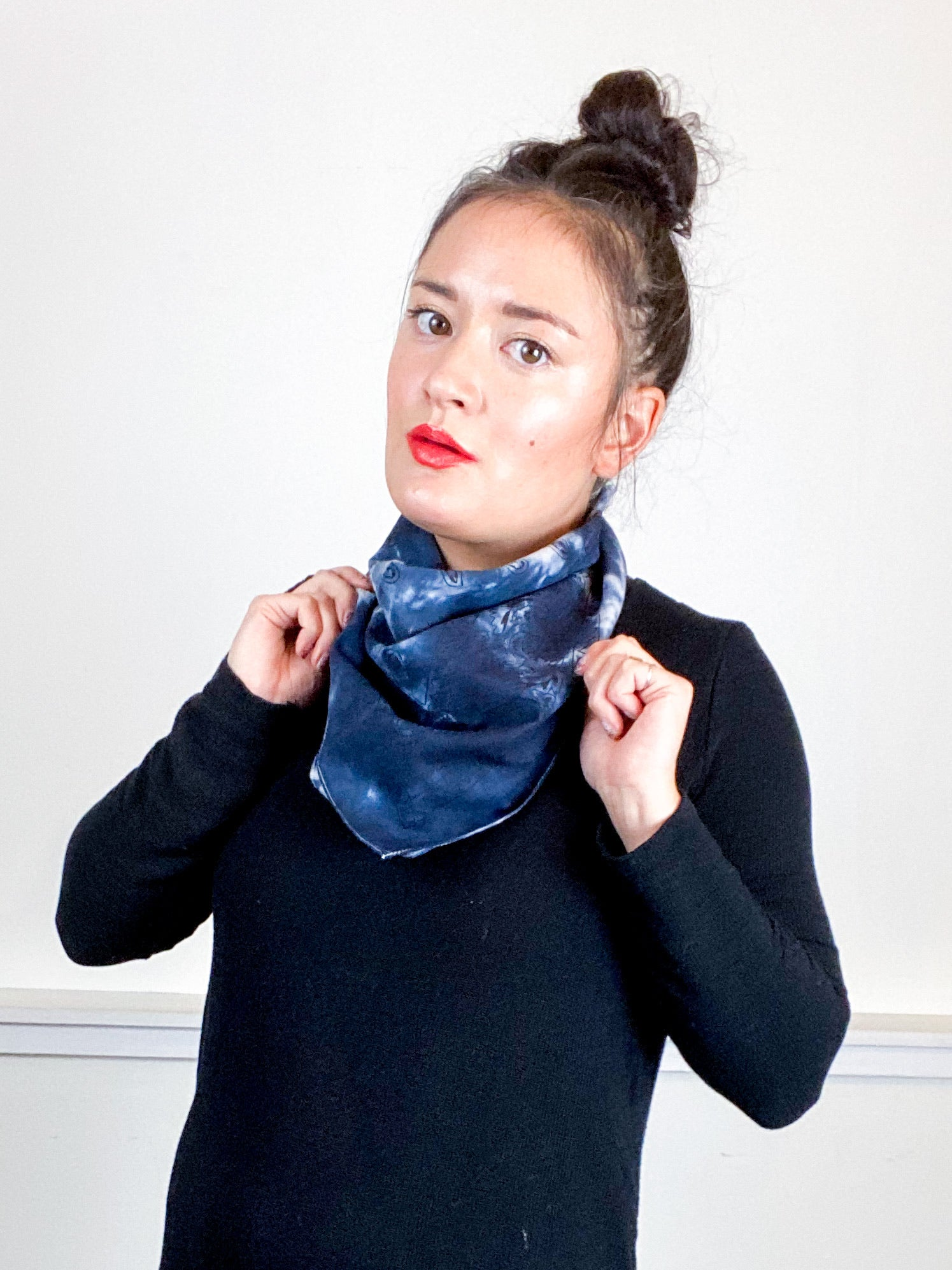 Over-Dyed Bandana Blue Black