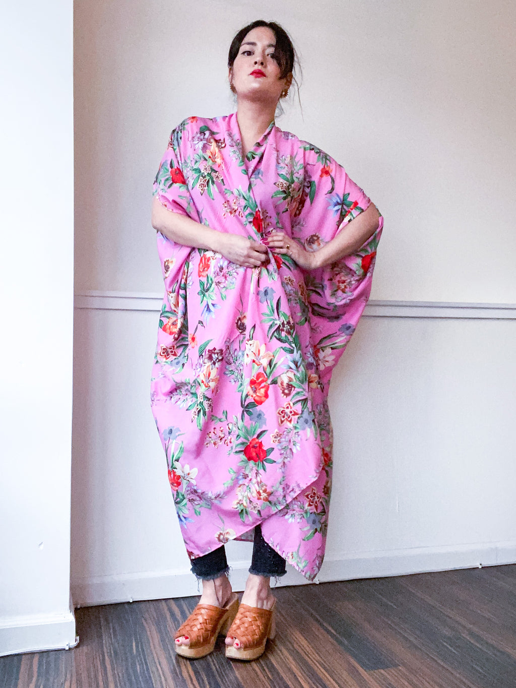 Print High Low Kimono Pink Tropical