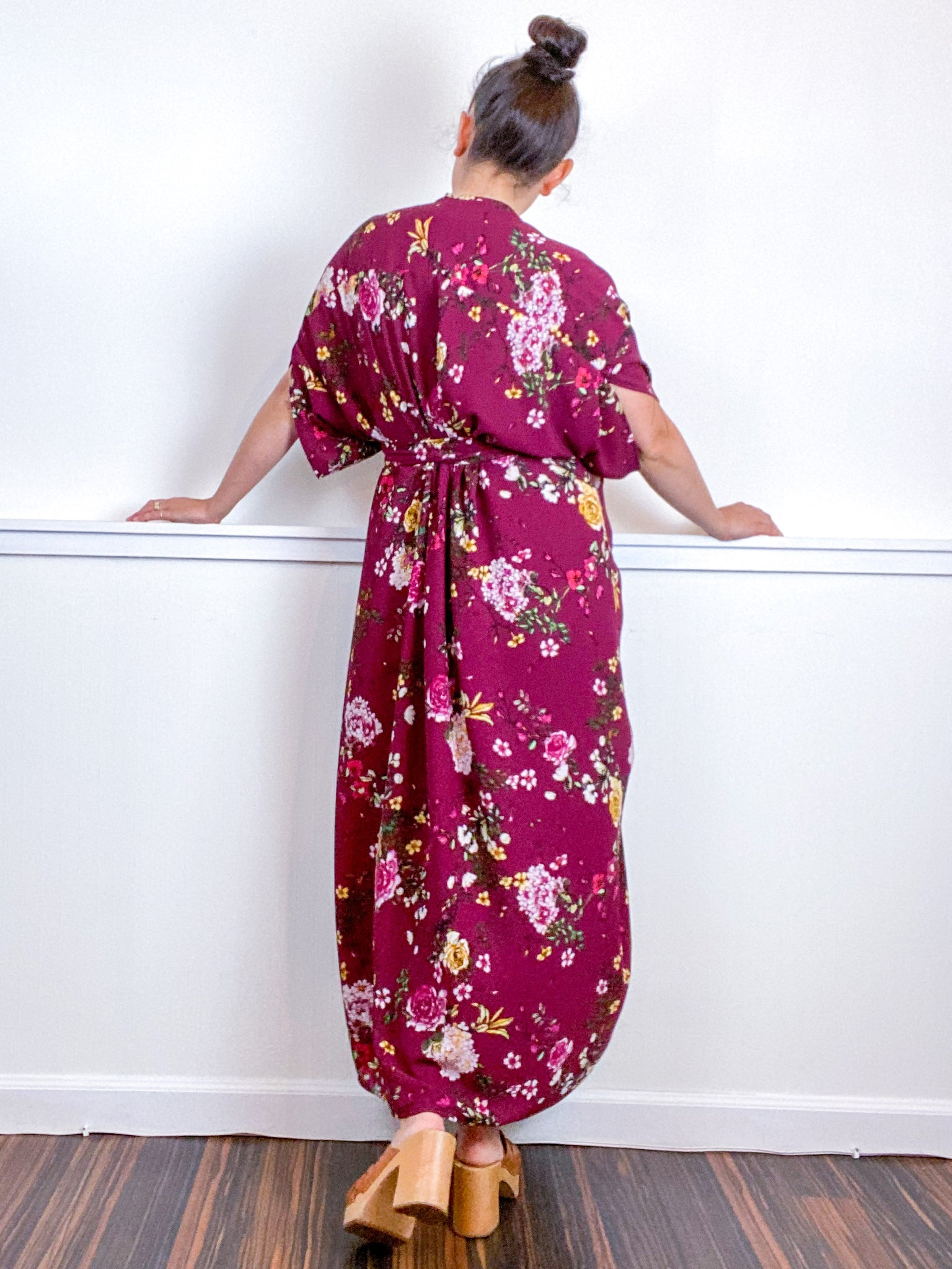 Print High Low Kimono Maroon Floral Bubble Crepe