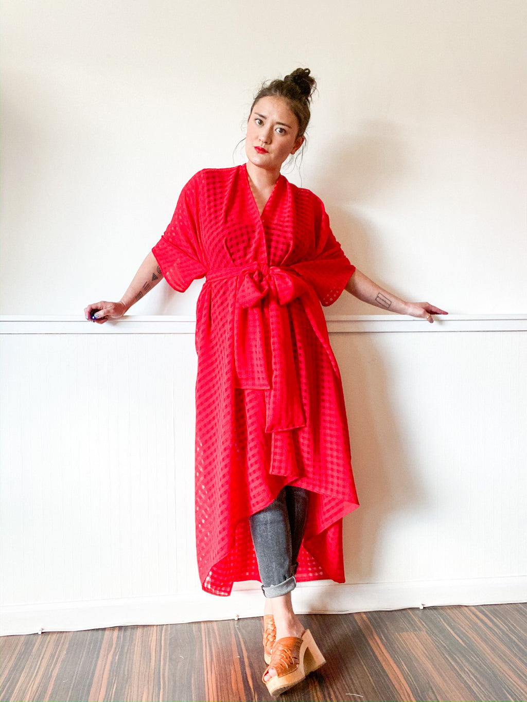 Print High Low Kimono Red Gingham Chiffon