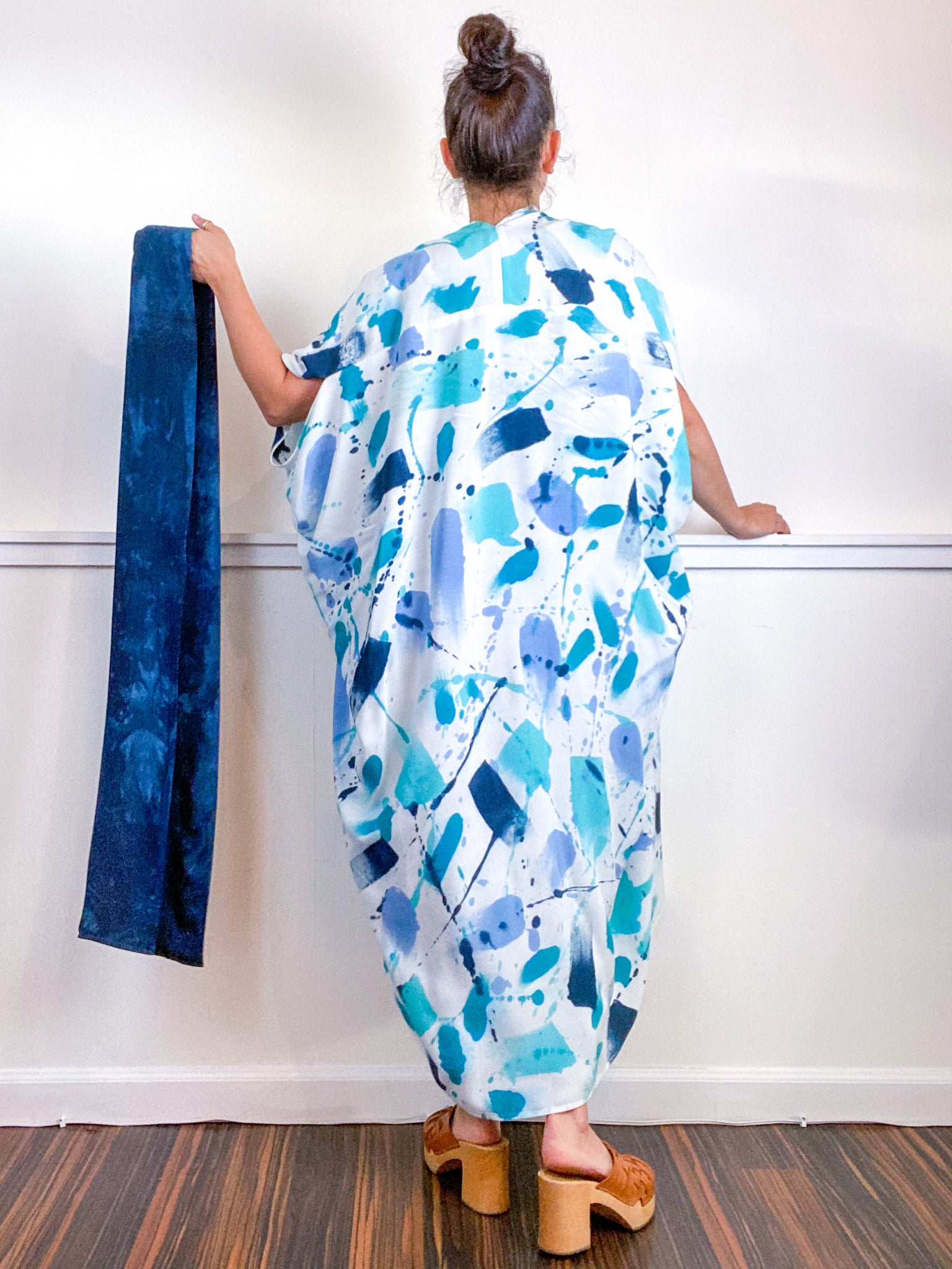 OOAK Hand-Dyed High Low Kimono Teal Parakeet Baby Blue Aqua Gesture