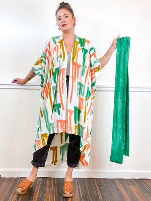 OOAK Hand-Dyed High Low Kimono Emerald Flamingo Amber Sea Drips
