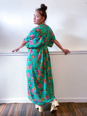 High Low Kimono Green Floral Bubble Crepe