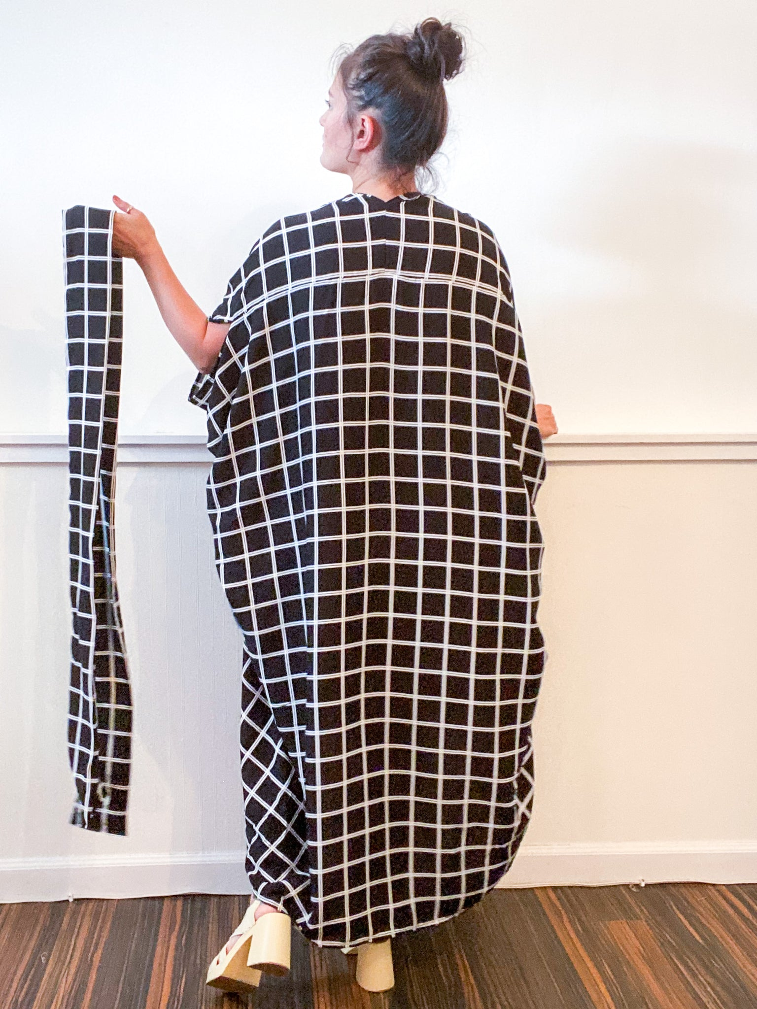 Print High Low Kimono Black Windowpane Rayon Challis
