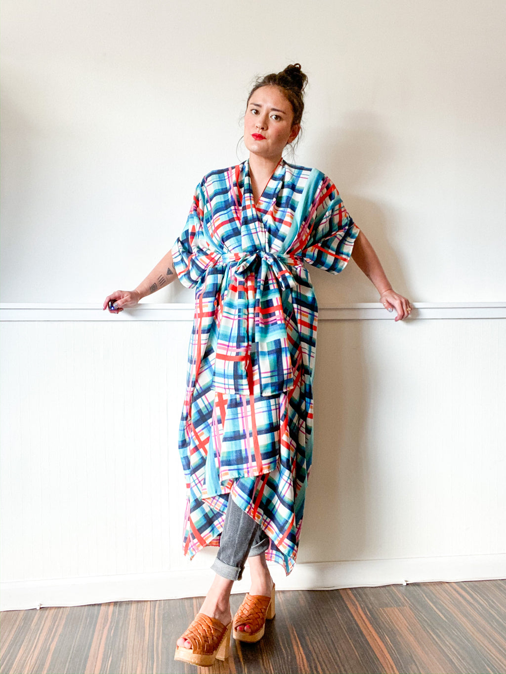 Print High Low Kimono Turquoise Orange Plaid