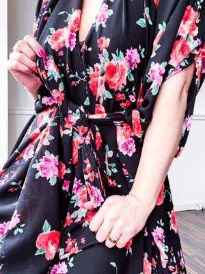 Print High Low Kimono Black Red Pink Roses