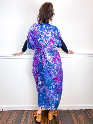 Hand-Dyed High Low Kimono Amethyst Orchid Indigo Teal Speckle