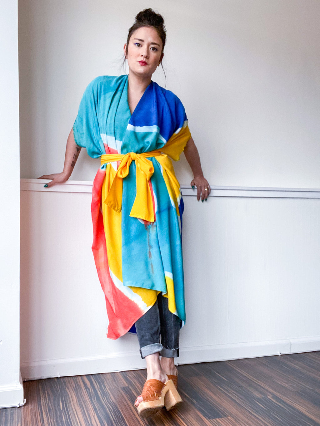 Limited Edition Hand-Dyed High Low Kimono Shape Study 1